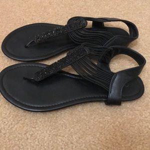 Curfew Black Sandals Size 9